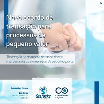 Novo acordo de transação para processos de pequeno valor